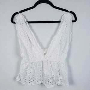 Tops - Womens XS? White Cotton Eyelet Tank Top Cover-Up